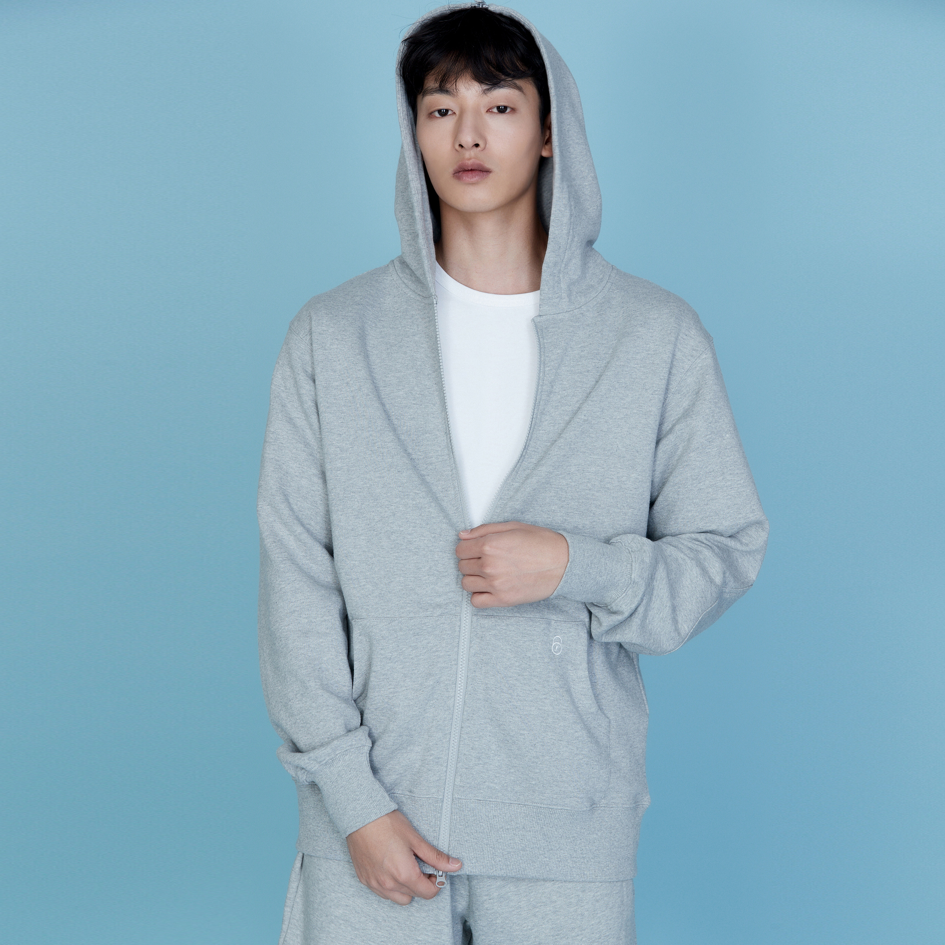 QUATRE GREY HOOD ZIP-UP