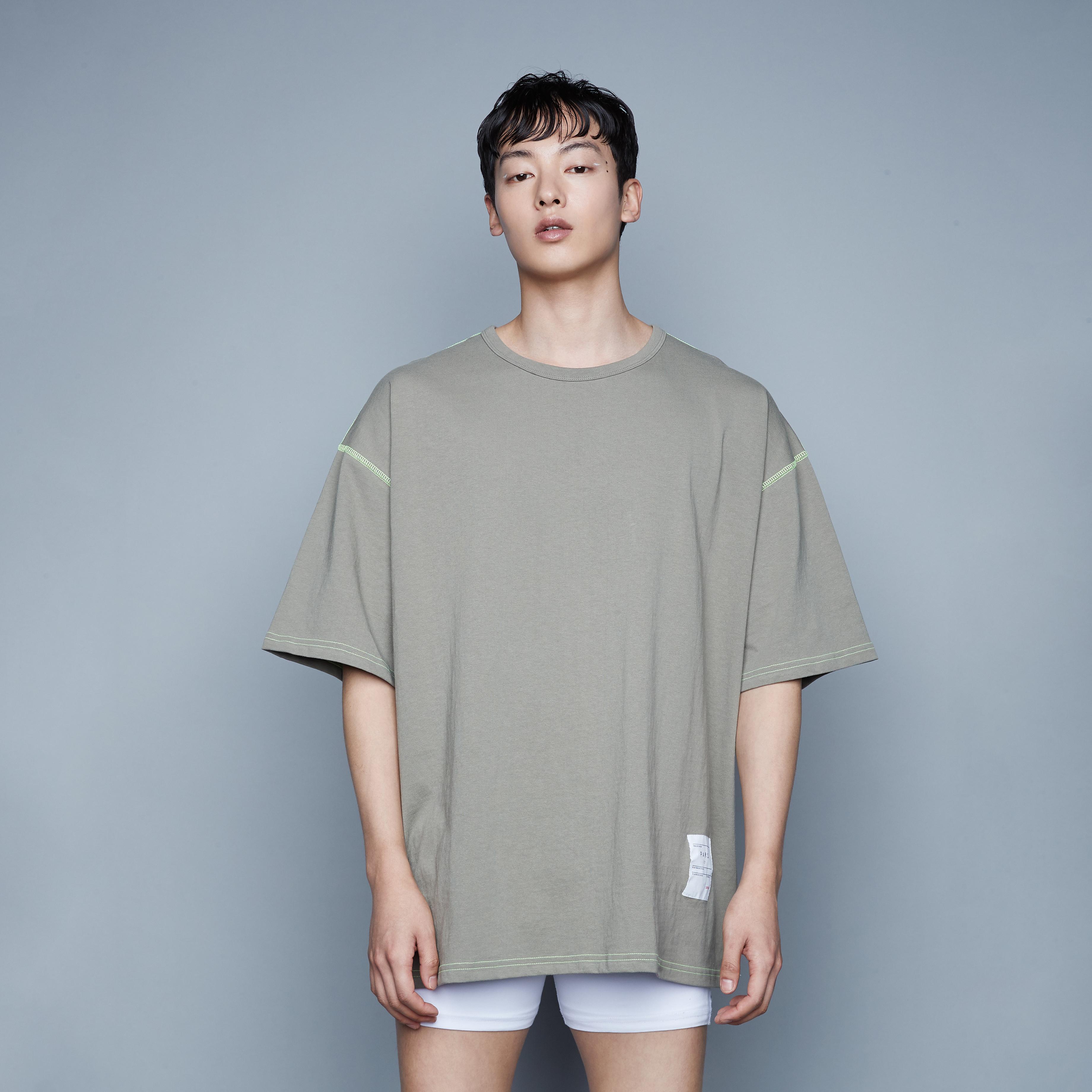 Pars A Grenoble Khaki Over Short T-Shirt(빠흐아그레노블카키오버반팔티)